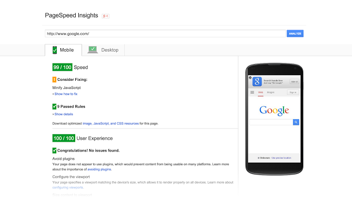 A screenshot of Google PageSpeed Insights and how it can help on-site optimization