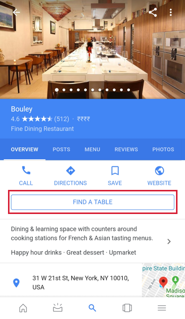 A business listing with the Reserve with Google feature used.