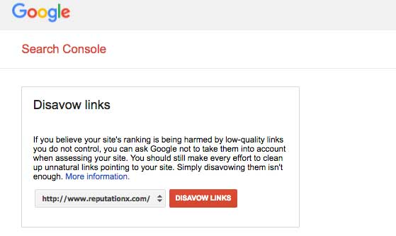 Disavow Links Using Google Webmasters and Search Consolse